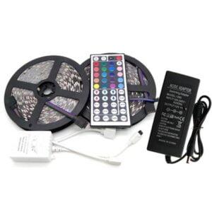 Kit Banda Led RGB 5050,60led/M IP65, Transformator 7A, Telcomanda IR 44 taste 10metri