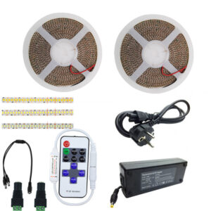 Kit Banda LED Alb Rece 240led/m, Controller cu telecomanda 11taste RF, 7a 84w,ip20, 10metri