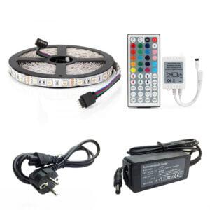 Kit Banda Led RGB 5050 IP65 5 Metri Controller IR cu telecomanda 44 taste - Transformator 36W