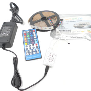 Kit Banda led RGBWW 4 in 1(RGB+ Alb Cald) 5050,60led/m, ip20 , Transformator 5A, Telecomanda cu IR 5Metri
