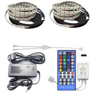 Kit Banda led 10metri RGBWW 4 in 1, RGB+Alb Cald in acelasi chip, Transformator 7A, Telecomanda IR 40 Taste