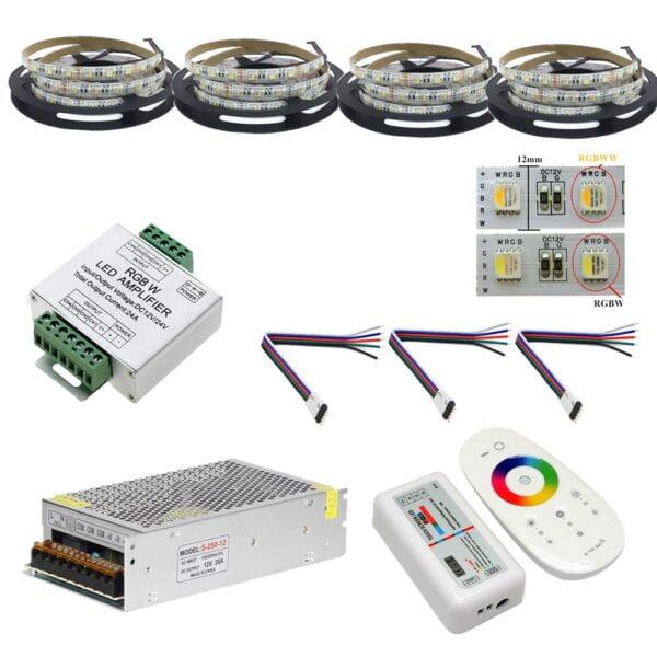 Kit Banda led RGBWW 4 in 1 5050,60led/m, ip20 , Transformator 20A, Telecomanda cu TouchScreen 20Metri