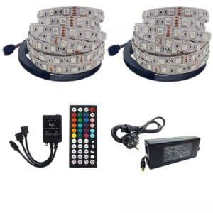 Kit Banda LED RGB cu control muzical, IP20 , Telecomanda IR 20 taste, Transformator 5A , 10 Metri