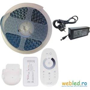 Kit Banda LED Alb Rece 5050 120led/m, IP20, 12V ,5 metri